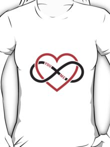 never ending love, red heart with infinity sign T-Shirt