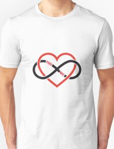 never ending love, red heart with infinity sign Unisex T-Shirt