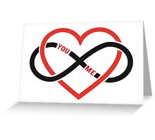 never ending love, red heart with infinity sign Greeting Card