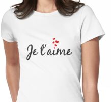 Je t'aime, I love you, French word art with red hearts Womens Fitted T-Shirt