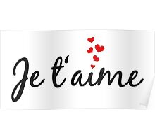 Je t'aime, I love you, French word art with red hearts Poster