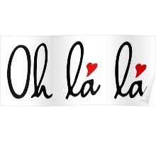 Oh la la, French word art with red hearts Poster