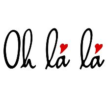 Oh la la, French word art with red hearts Photographic Print