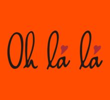 Oh la la, French word art with red hearts Kids Clothes
