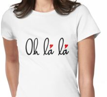 Oh la la, French word art with red hearts Womens Fitted T-Shirt