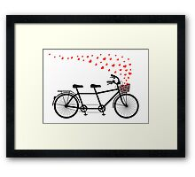 tandem bicycle and flying red hearts for Valentine's day, wedding invitation Framed Print