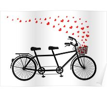 tandem bicycle and flying red hearts for Valentine's day, wedding invitation Poster