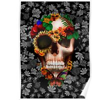 Halloween sugar skull with butterfly Poster