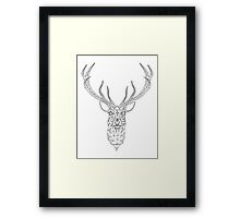 Christmas deer head abstract geometric pattern Framed Print
