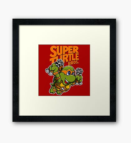 Super Turtle Bros - Mikey Framed Print