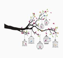 tree branch with birds and birdcages Kids Clothes