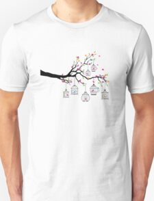 tree branch with birds and birdcages Unisex T-Shirt