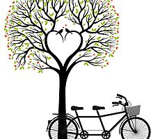 Heart tree with birds and tandem bicycle  by beakraus