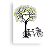 Heart tree with birds and tandem bicycle  Canvas Print