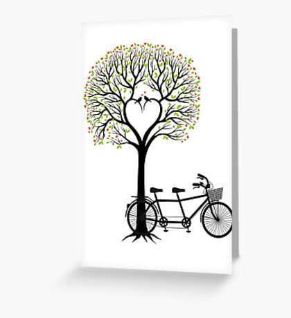 Heart wedding tree with birds and tandem bicycle  Greeting Card