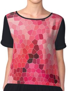 Mosaic, structure, pattern, red, purple, pink, colorful, texture, tiles, round shape, ceramic tile Chiffon Top