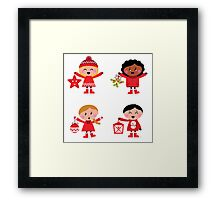 Winter happy kids collection : red Framed Print