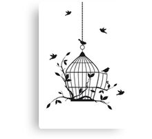 Free birds with open birdcage Canvas Print