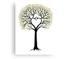 Love tree with heart shaped branches and birds Canvas Print