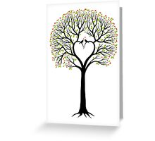 Love tree with heart shaped branches and birds Greeting Card