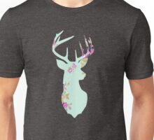 Floral Deer Head Mounted Unisex T-Shirt