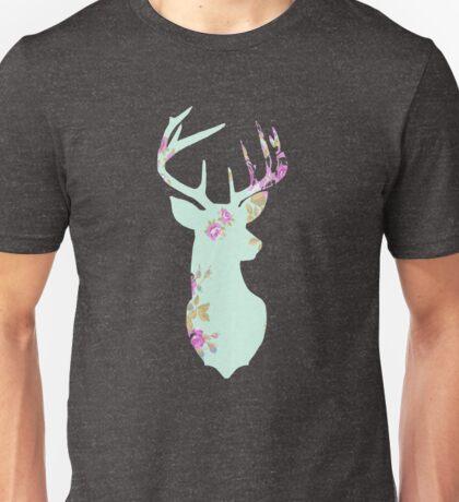 Floral Deer Head Mounted Unisex T-Shirt