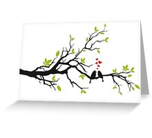 Birds in love with red hearts on spring tree Greeting Card