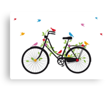 Old vintage bicycle with flowers and birds Canvas Print