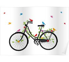 Old vintage bicycle with flowers and birds Poster