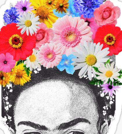 frida kahlo head flowers Sticker