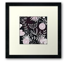 Retro background with vintage flowers : Black Framed Print