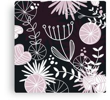 Retro background with vintage flowers : Black Canvas Print