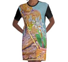 Buddha with Orchids Graphic T-Shirt Dress