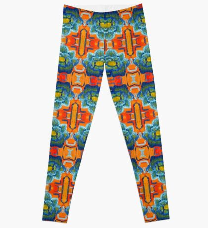 Tiled Orange and Blue Floral Oil Painting Leggings