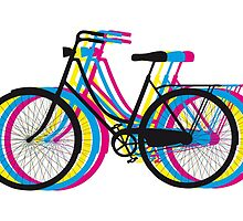 Colorful old bicycle silhouette by beakraus