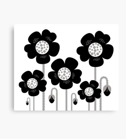 New black and white stylish floral art. BW, monochrome Canvas Print