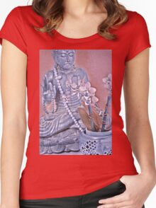 Purple and Rose Pink Buddha with Orchids Women's Fitted Scoop T-Shirt