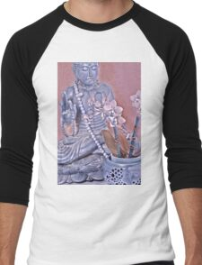 Purple and Rose Pink Buddha with Orchids Men's Baseball ¾ T-Shirt