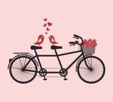 tandem bicycle with cute love birds Kids Tee