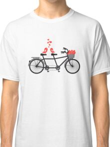 tandem bicycle with cute love birds Classic T-Shirt