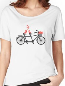 tandem bicycle with cute love birds Women's Relaxed Fit T-Shirt