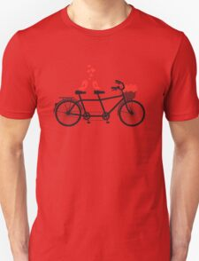 tandem bicycle with cute love birds Unisex T-Shirt