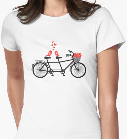 tandem bicycle with cute love birds Womens Fitted T-Shirt