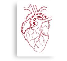 """Red human heart with text """"I love you"""" Canvas Print"""