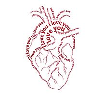"""Red human heart with text """"I love you"""" Photographic Print"""