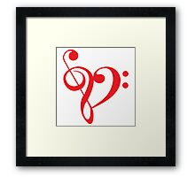 I love music, red heart with music notes Framed Print
