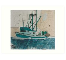 PAUL C Shrimp Boat Cathy Peek Nautical Chart Map Art Print