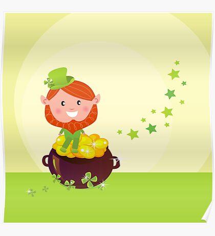 Happy St. Patrick's Day. Cute little Leprechaun Poster
