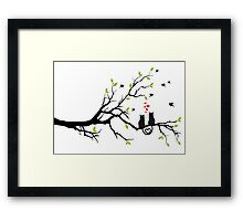 Cats in love with red hearts on spring tree Framed Print