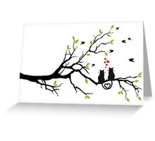 Cats in love with red hearts on spring tree Greeting Card